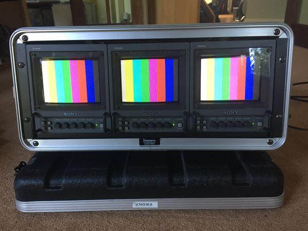 3 x Sony PVM-6041QM monitors in portable rack.