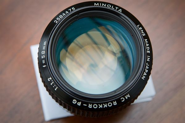 Minolta Rokkor 58mm f/1.2 prime lens, Canon EF mount
