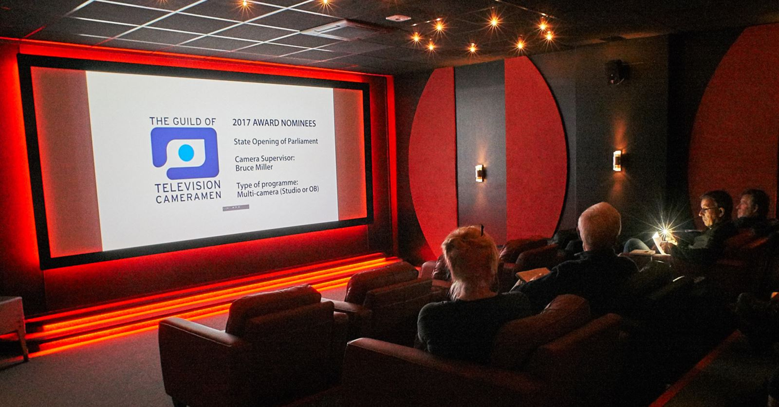 The GTC Awards 2017 judges in the viewing room kindly provided by GTC sponsors RED Digital Cinema