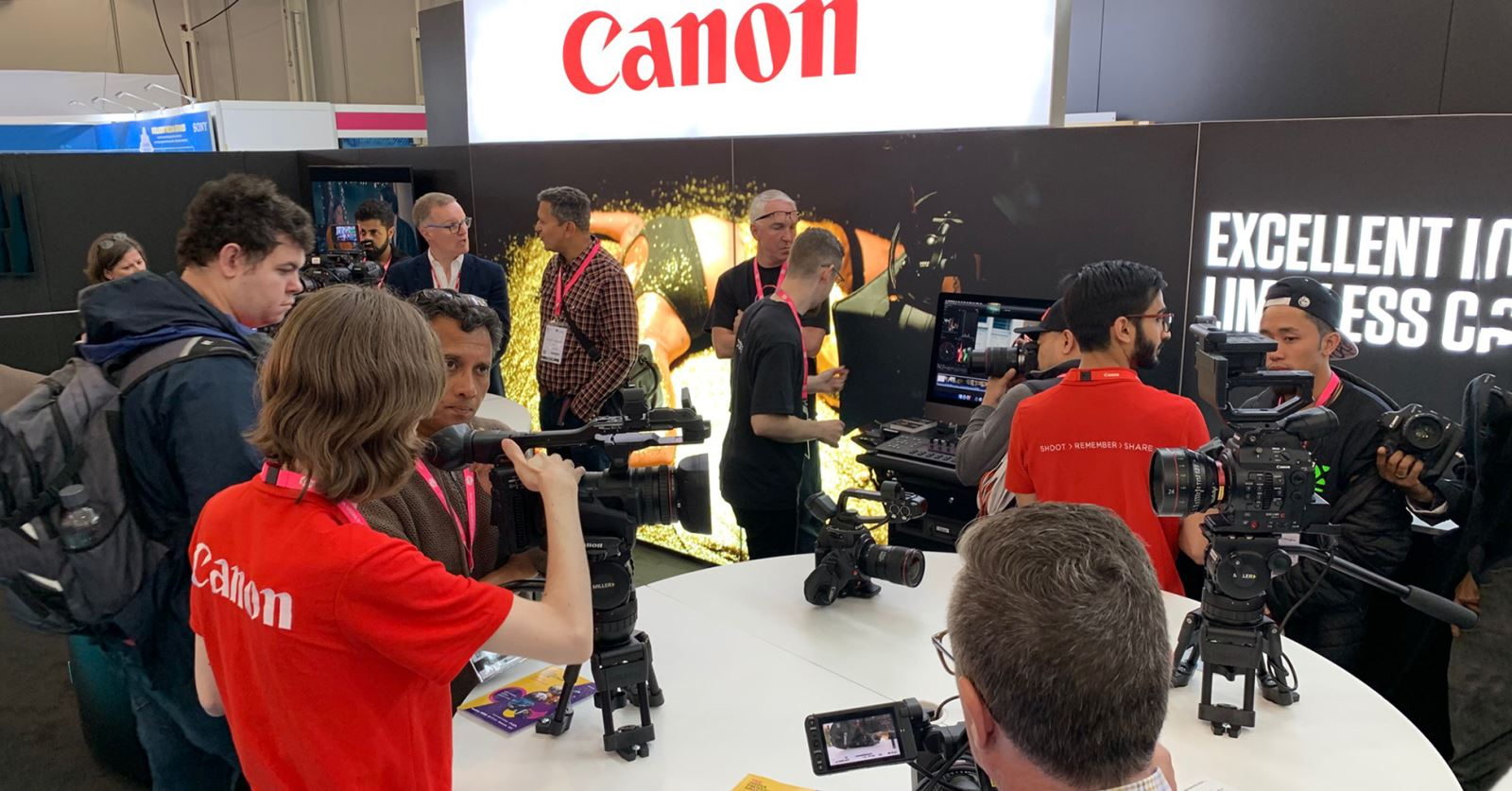 GTC sponsor Canon at the Media Production Show at Olympia – demonstrating all their latest cameras