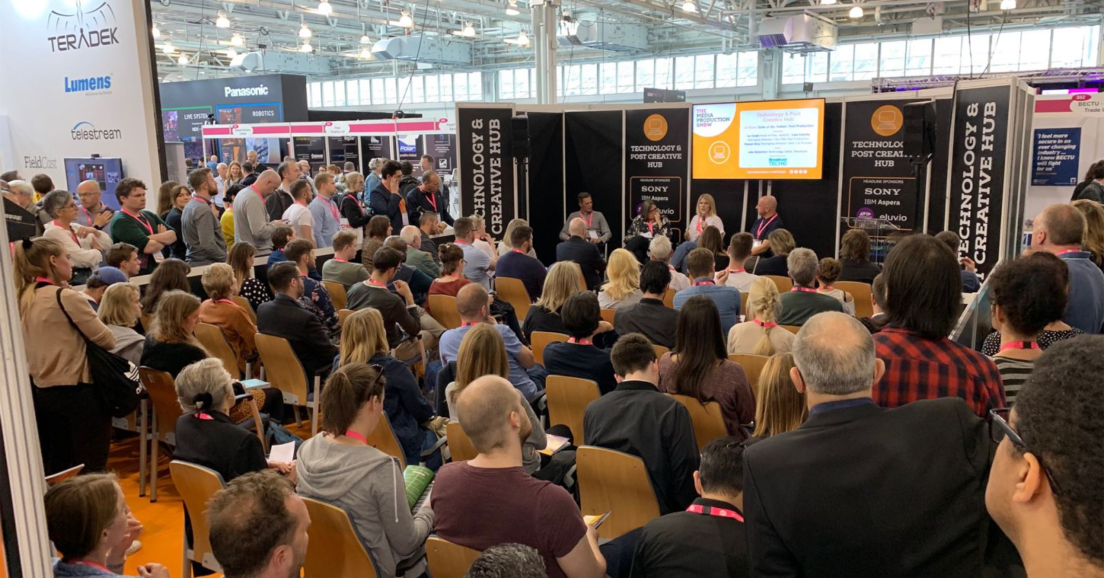 The Technology and Post Creative Hub area at the Media Production Show is drawing big crowds