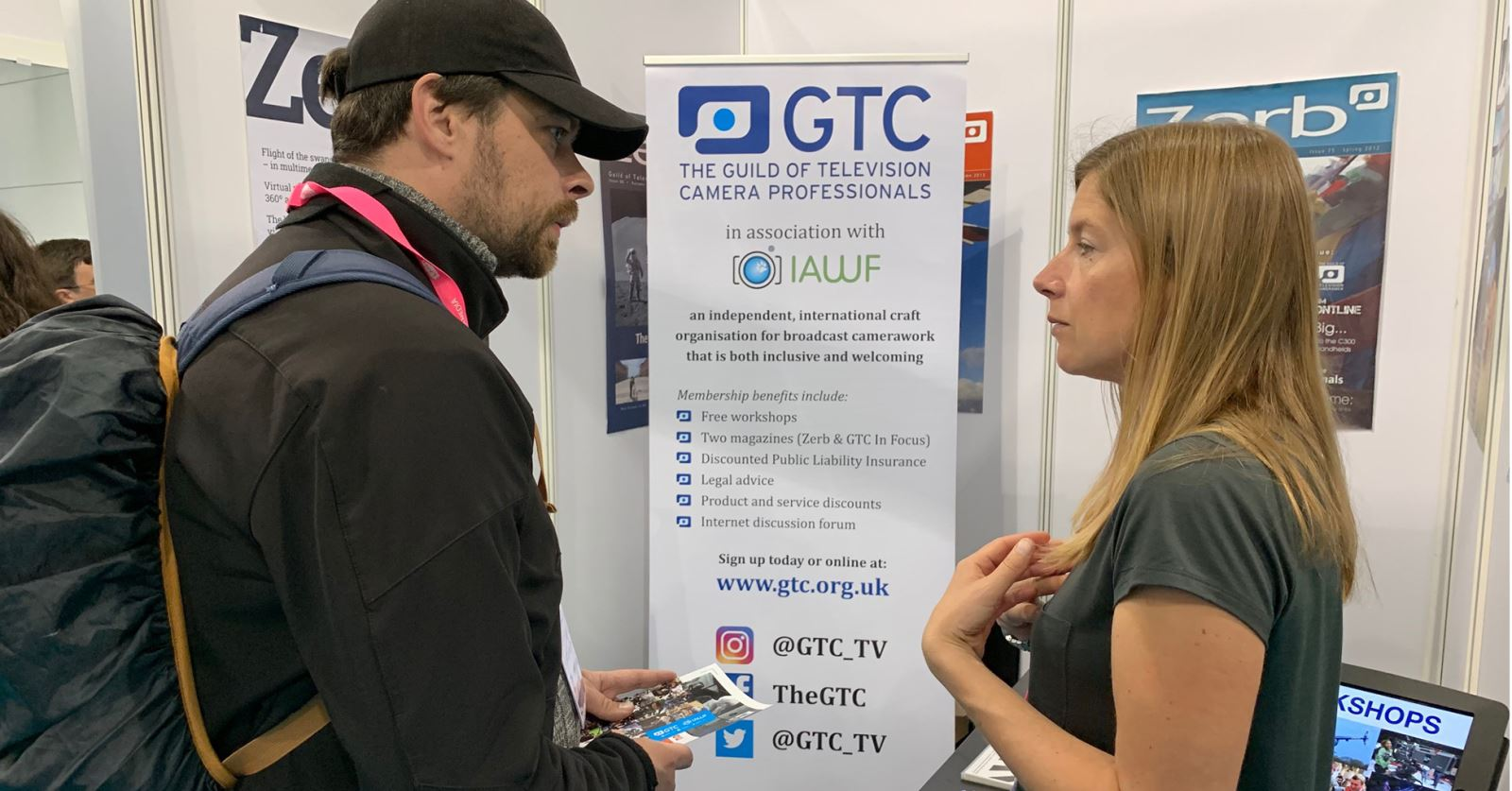 GTC Exhibitions Officer Kate Harvest explaining the many benefits of GTC membership - do visit the GTC at Stand 572