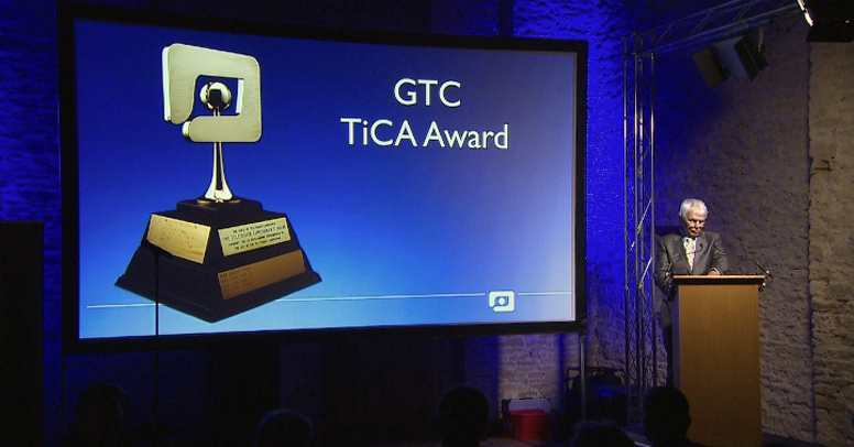 Keith Massey announces the winner of the TiCA award for 2013 - pioneer wildlife cameraman Charles Lagus