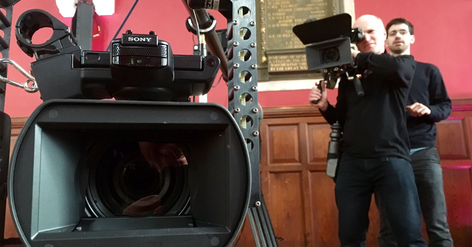 GTC Member, John Templeton, filming a promo for Al Jazeera in the Oxford Union, during rehearsals for Head to Head