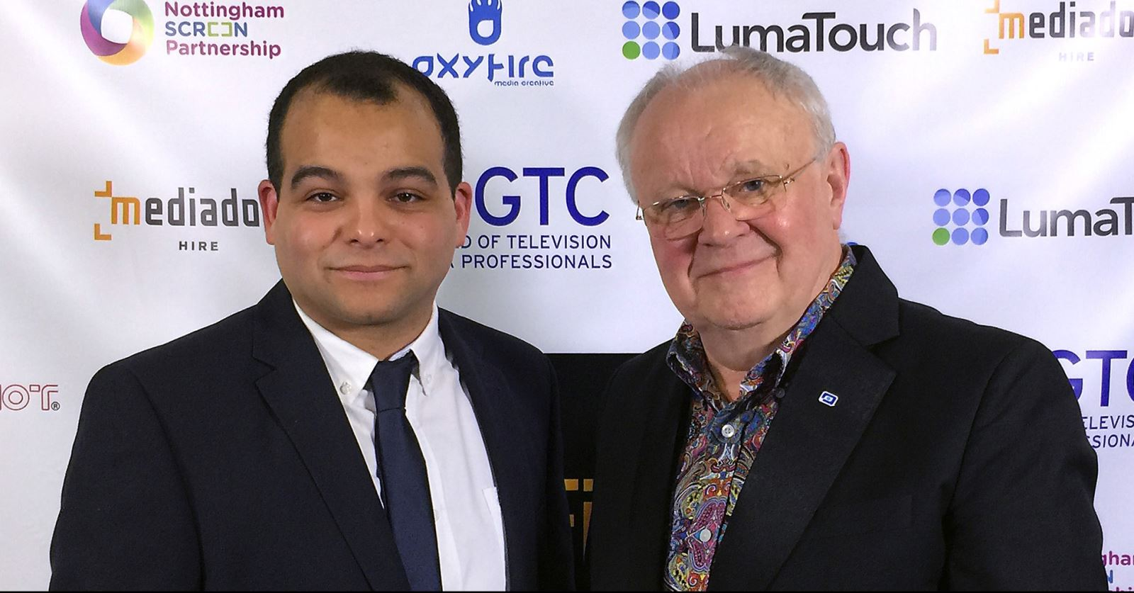 GTC President John Henshall (r) with Alex Doherty, Founder of the International Short Film Show Awards