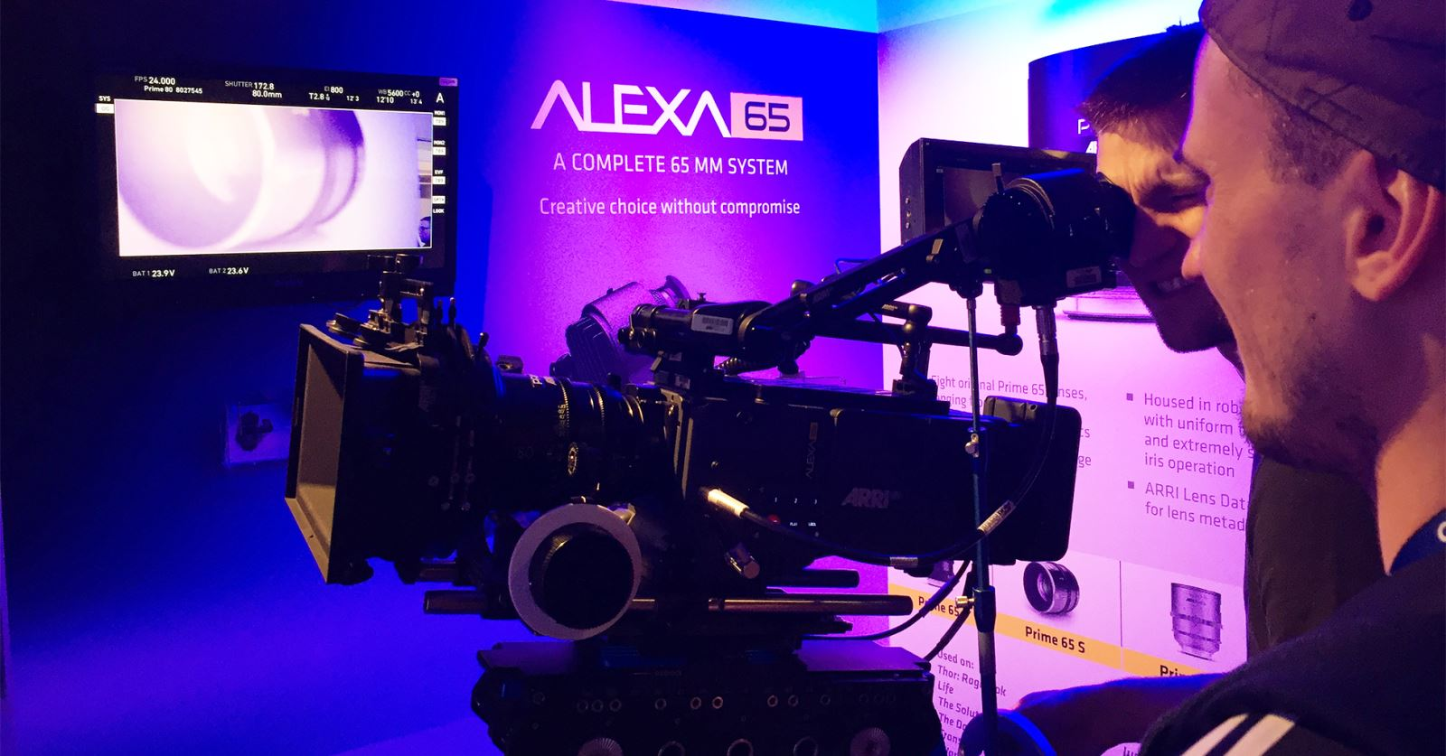 The ALEXA 65 system on the ARRI stand at Camerimage in Bydgoszcz, Poland