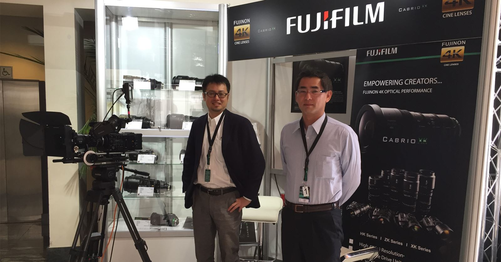Representatives from GTC sponsors Fujinon at the Camerimage exhibition in Bydgoszcz, Poland