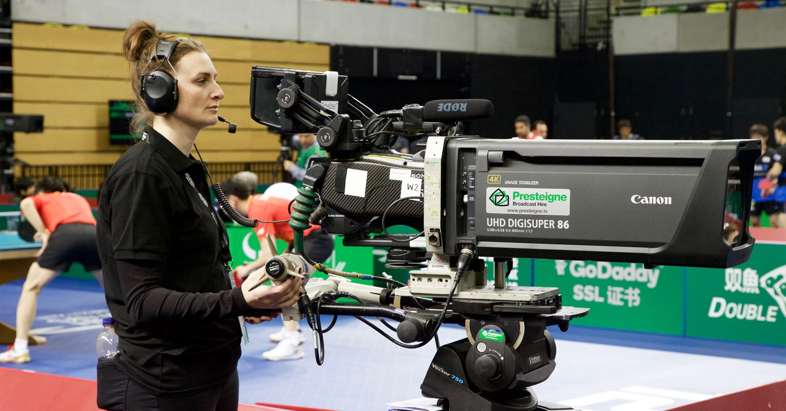 GTC member Emma Moate at the Copper Box Arena covering the ITTF Table Tennis World Cup