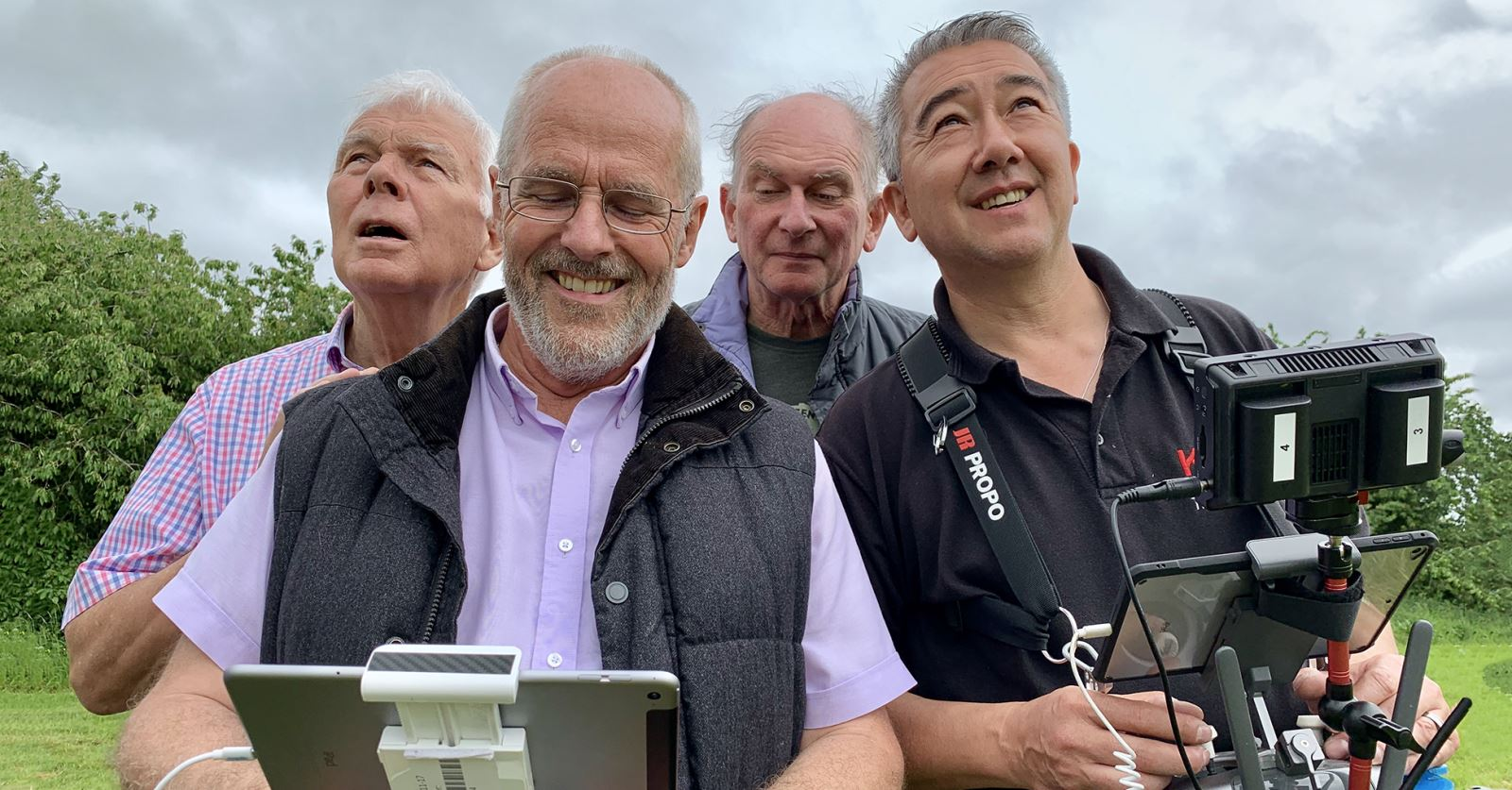 GTC Council members Keith Massey, Mark Howe and Clive North enjoying drone flying with the DroneMan Michael Kheng