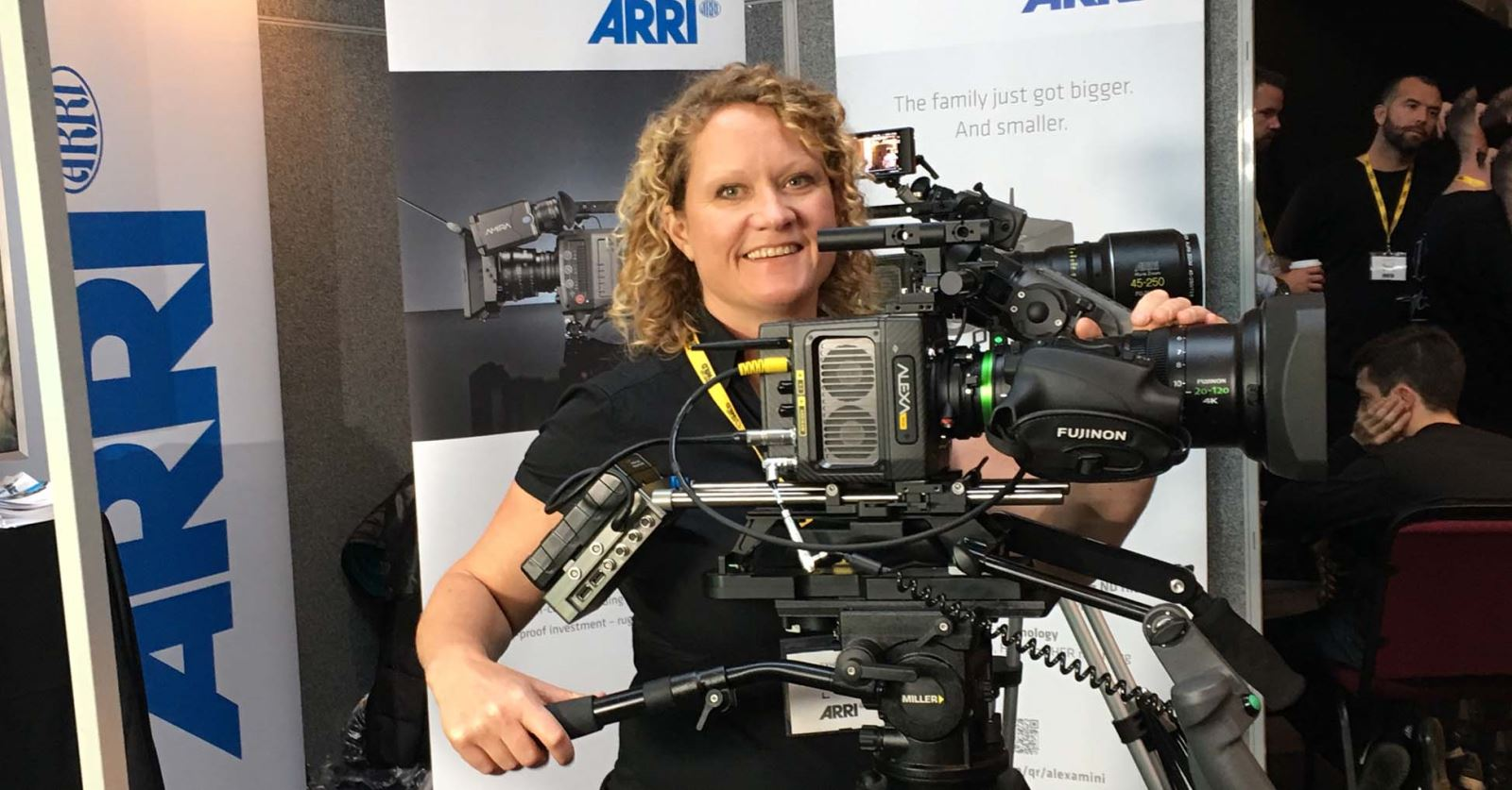 GTC and IAWF member DoP Gail Jenkinson taking an interest in an ARRI ALEXA with Fujinon lens at Wildscreen
