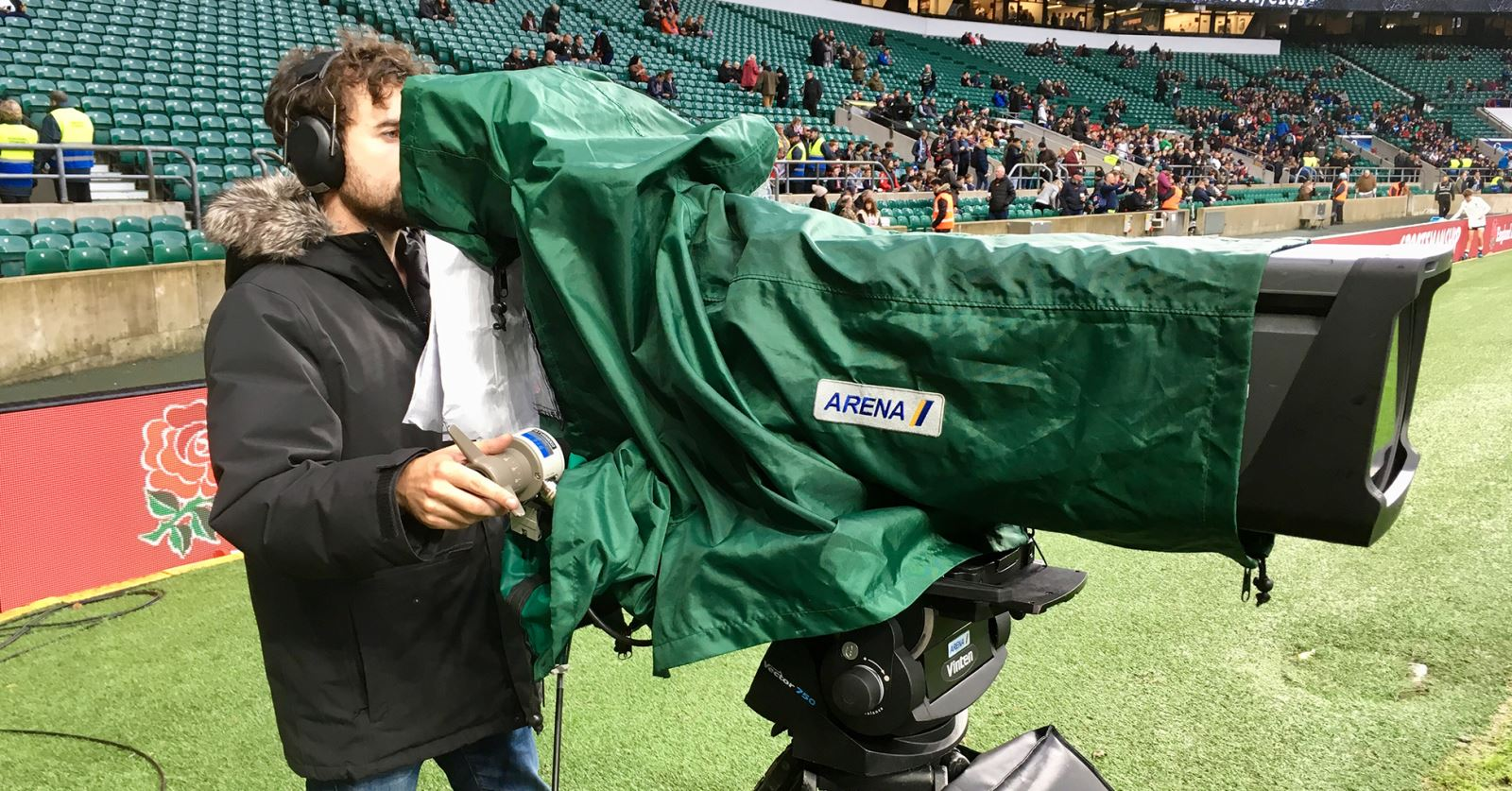 Welcome to new GTC Member Gilad McAteer, seen here operating for Sky TV, England v Argentina rugby, Twickenham