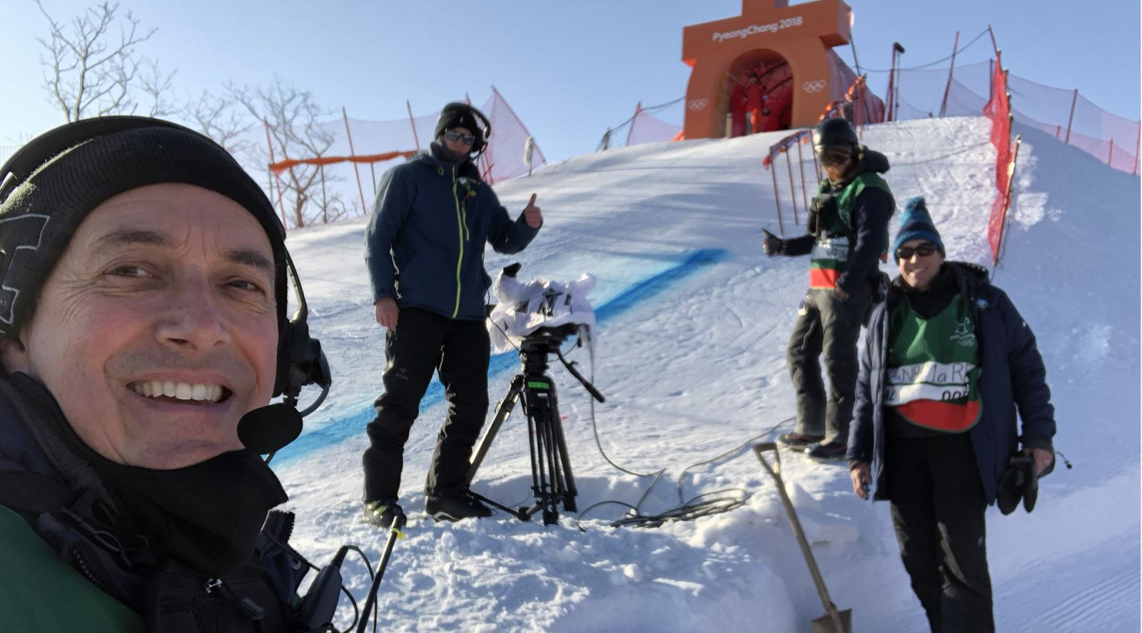 Graham Maunder with the rest of the NBC crew at the start of the Men's Downhill in PyeongChang