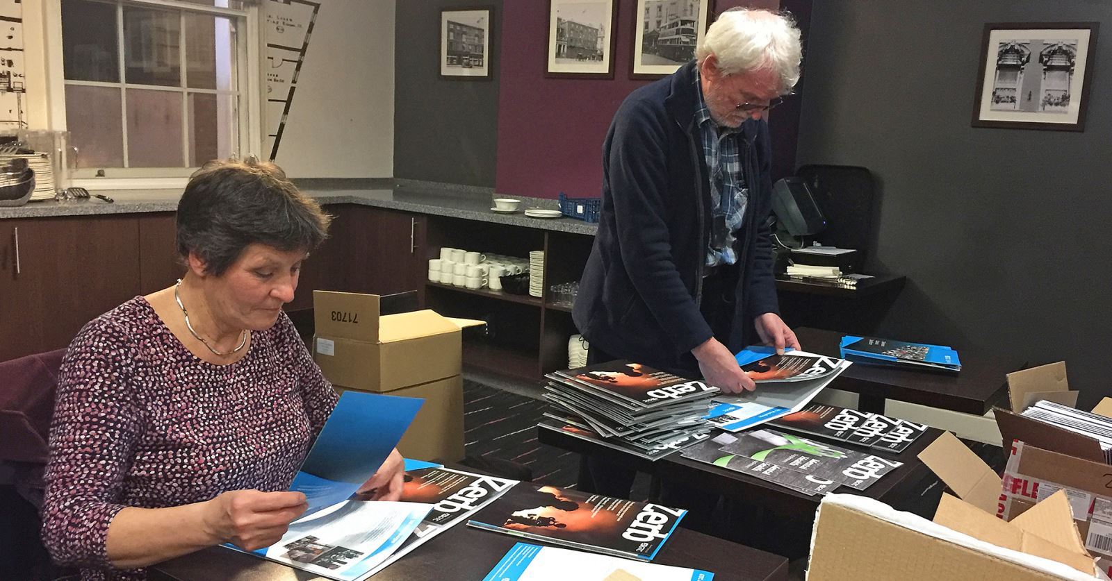 Helen Keep and John Tarby get GTC material ready for the International Short Film Show Awards in Nottingham