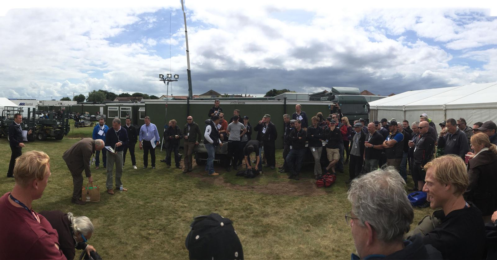 Briefing the (very large) crew at The Open Golf Championships at Royal Troon this weekend