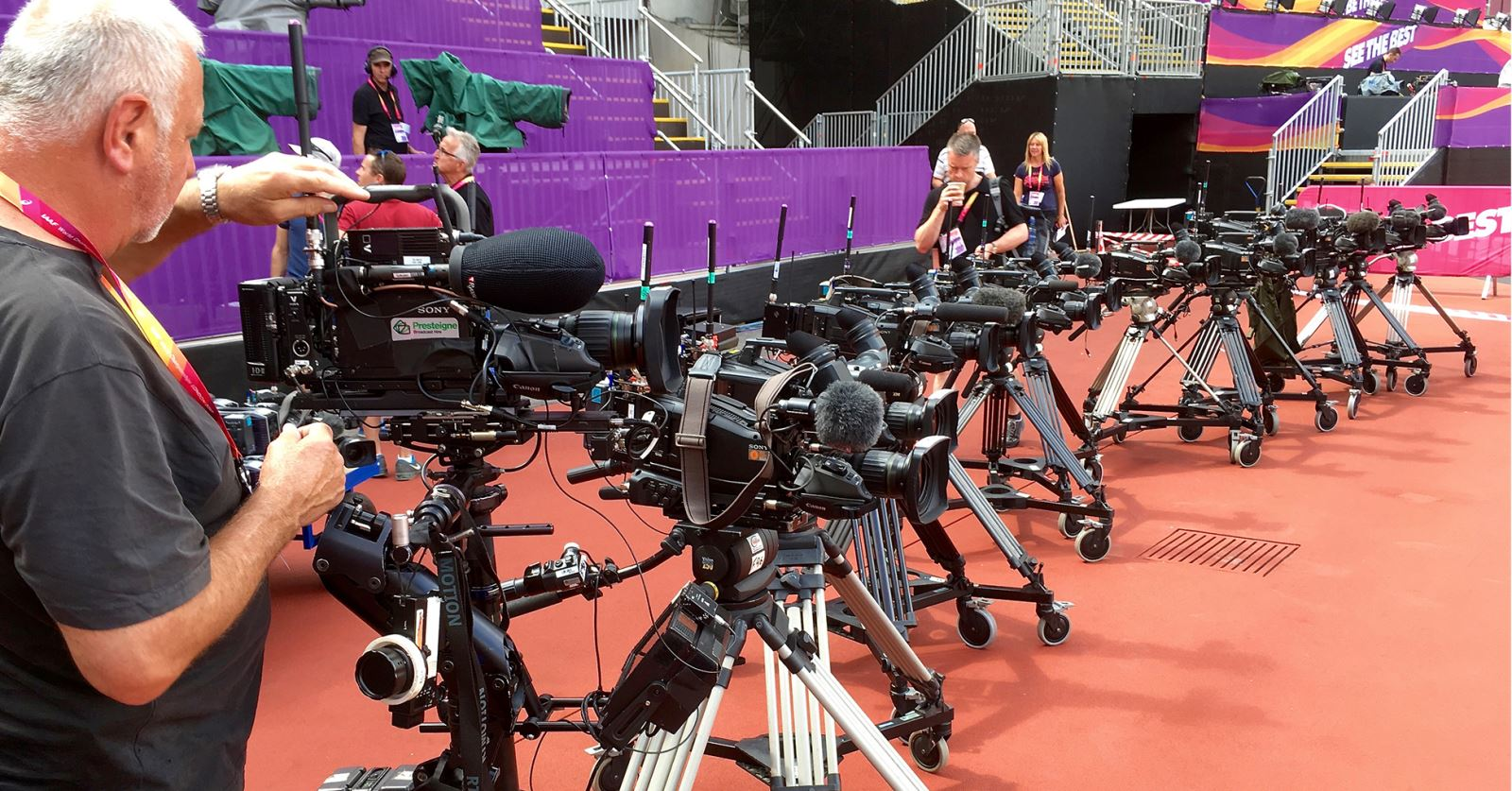 Just some of the radio cameras lined up ready for the IAFF World Championships in the London Olympic Stadium