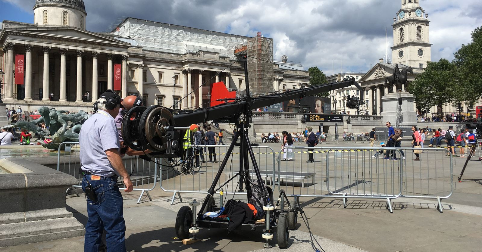 Jib operator Bernie Totten in Trafalgar Square for this week's Royal Opera House big screen relay of Il Trovatore