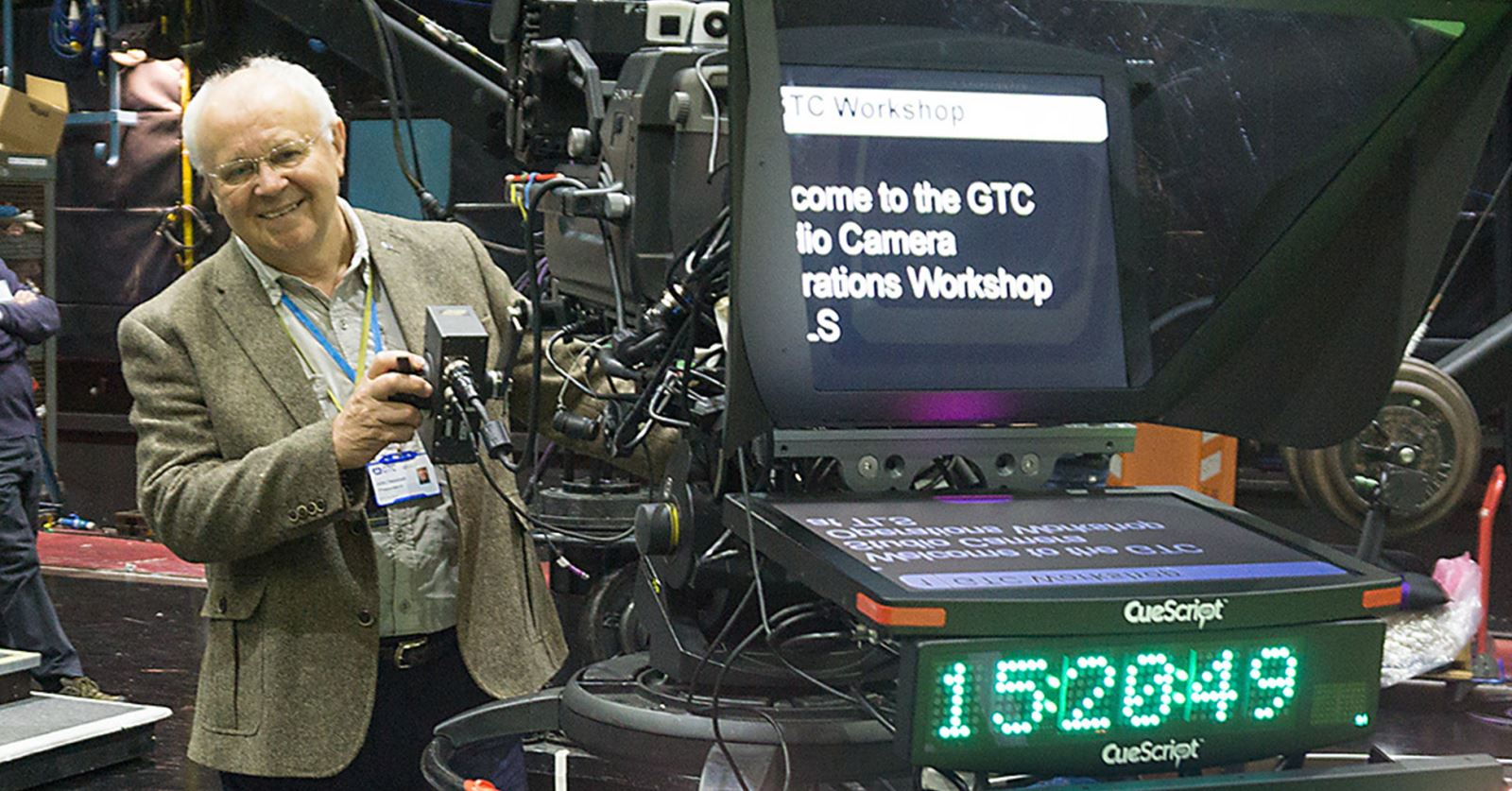 GTC President John Henshall behind a studio ped (first time since leaving the BBC in 1976!) - at the recent GTC Workshop