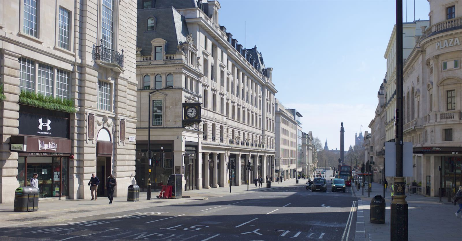 Empty Lower Regent St (captured by John Tarby en route to an essential medical appointment)
