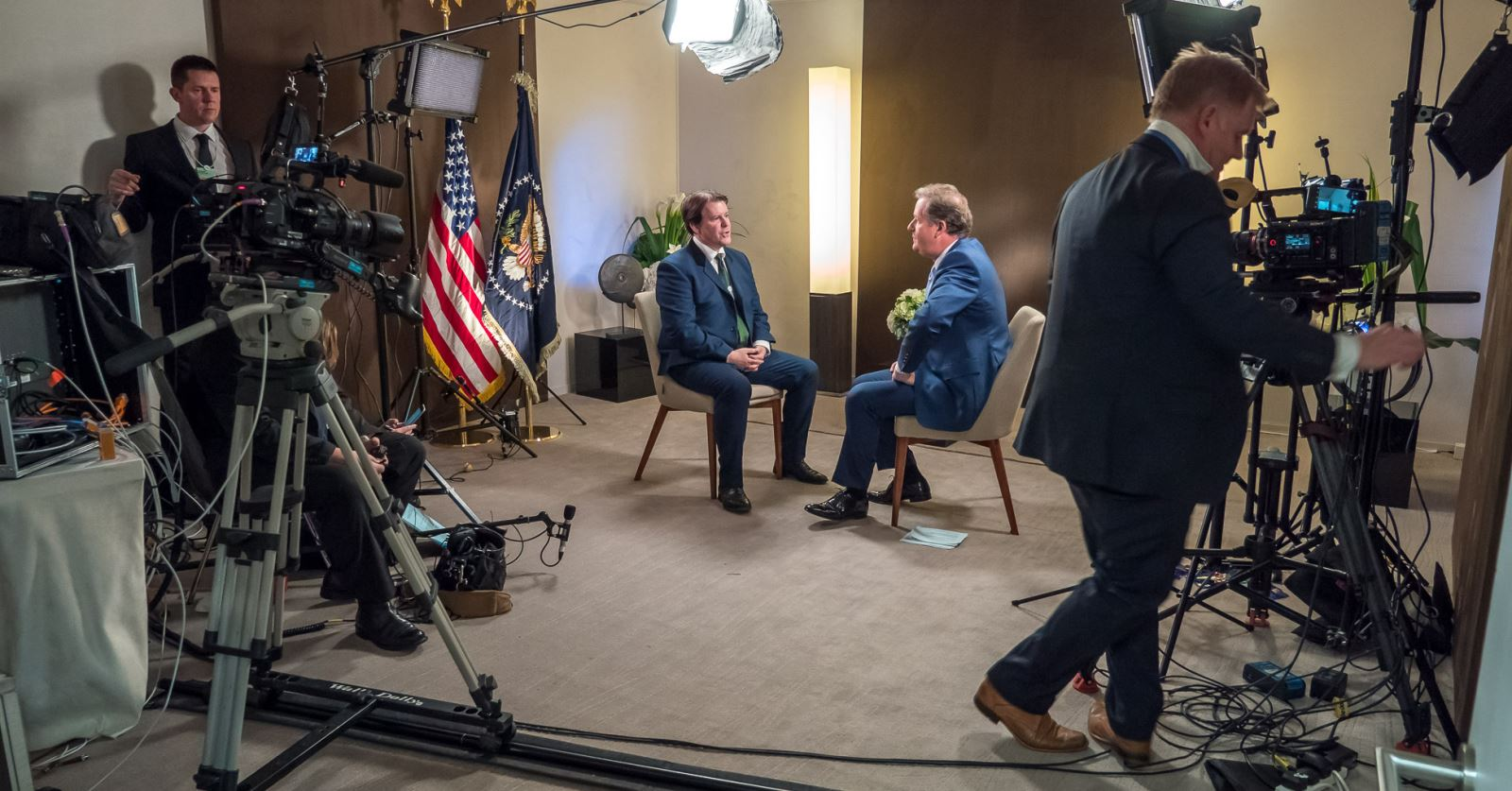 Getting set up for an interview with Donald Trump – Ed Matthews (l) and GTC member Geraint Warrington (r)