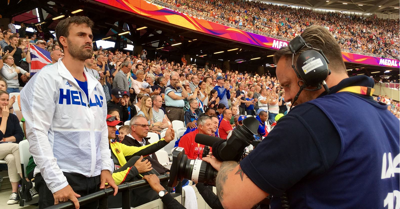 GTC member Matt Payne operating handheld in the Olympic Stadium for the 2017 IAFF World Championships