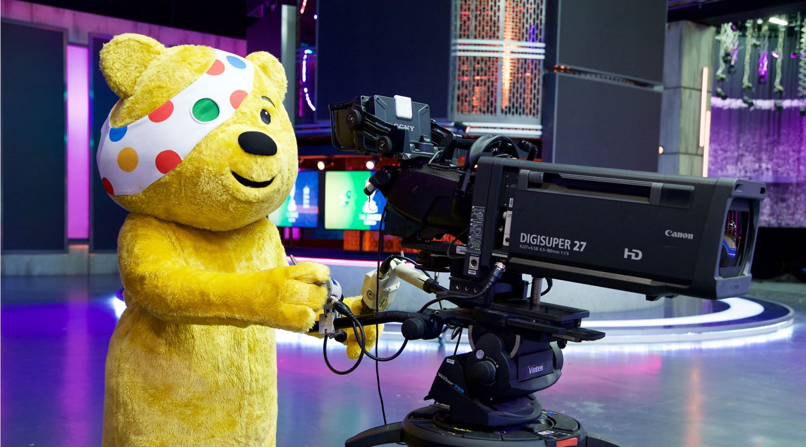 Pudsey spotted on camera at the Timeline/BT Studios – must be nearly time for Children in Need!