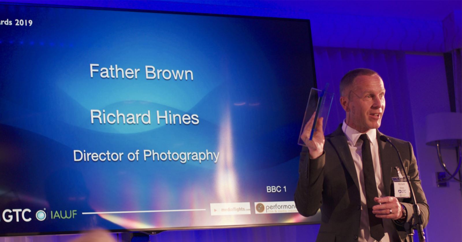 Richard Hines collects a GTC Award for his consistently excellent camera operation on the long-running 'Father Brown'