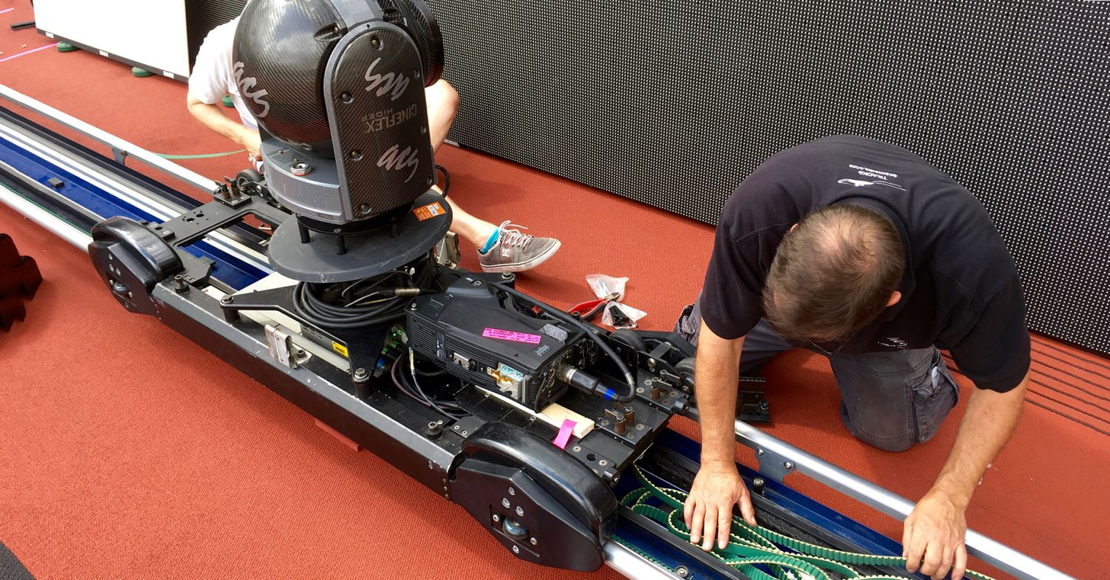 Rigging an ACS tracking camera ahead of the start of IAFF World Championships