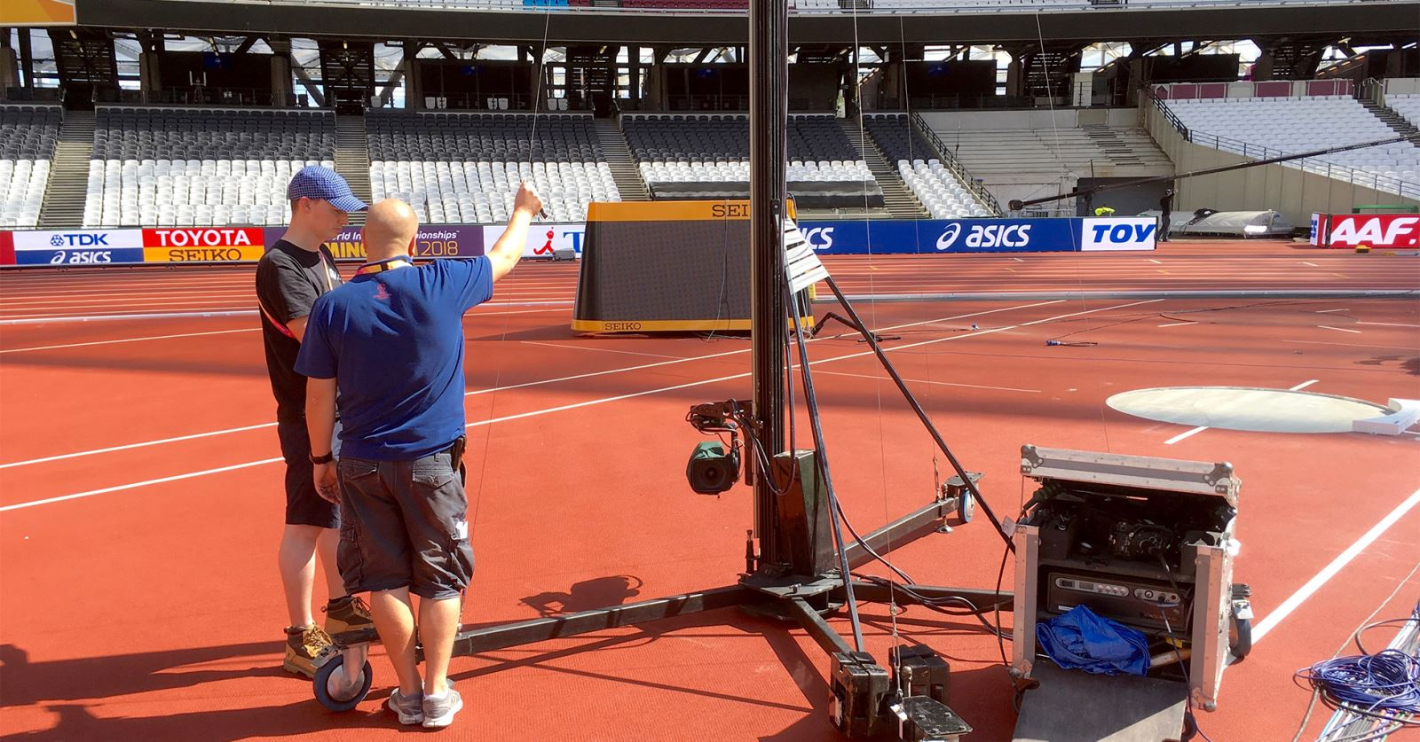 GTC sponsor ACS rigging a vertical camera in the Olympic Stadium, London, for the 2017 IAFF World Championships