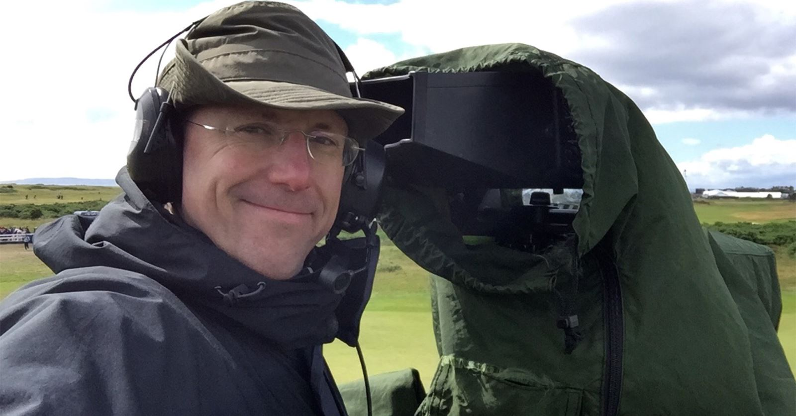 Doing his 'Day Job' - the GTC Treasurer Simon Roe wrapped up against the elements at Royal Troon for the Open Golf