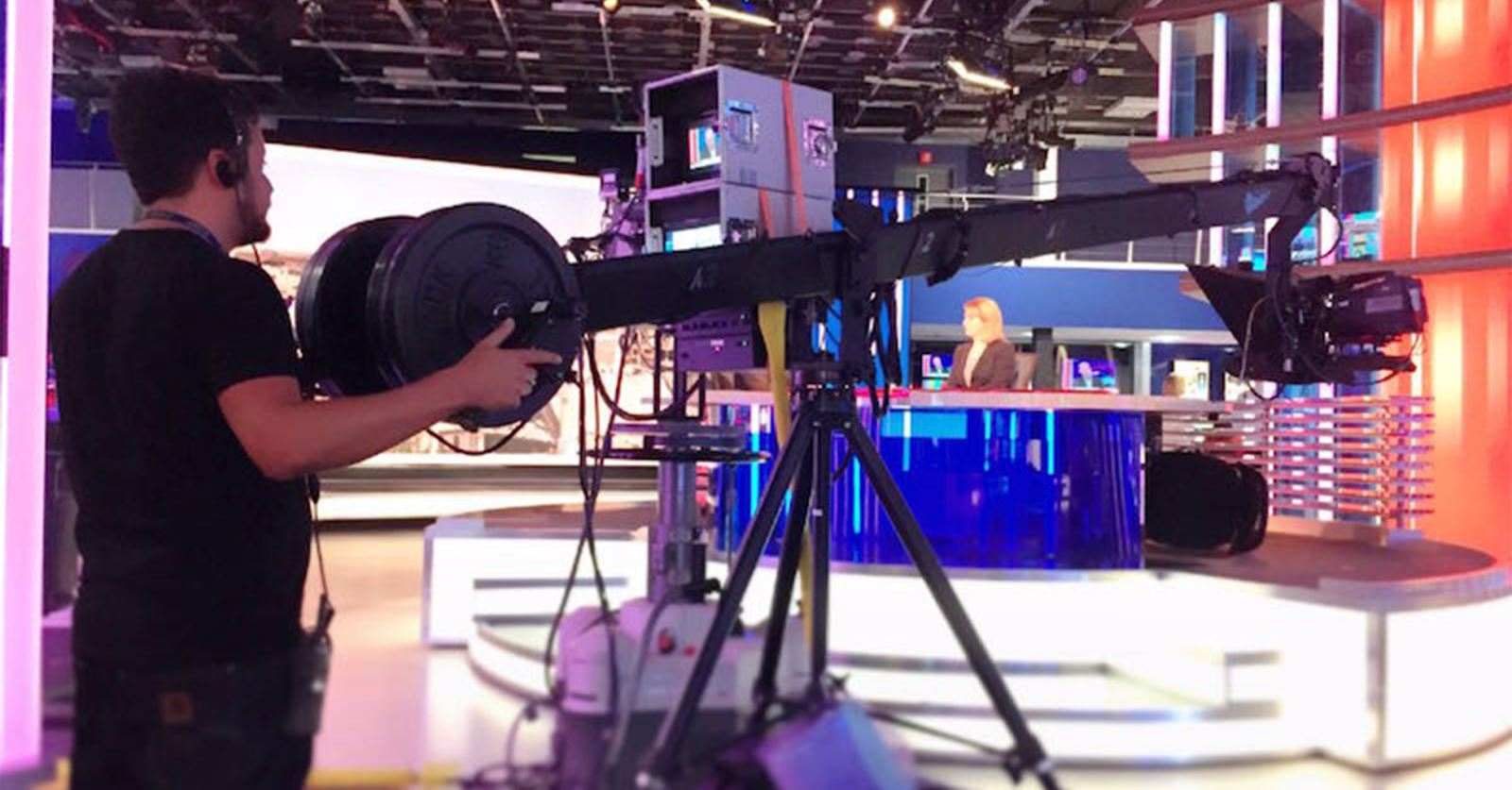 New GTC Member Matt Conyngham in action operating a jib for SKY News, Studio A
