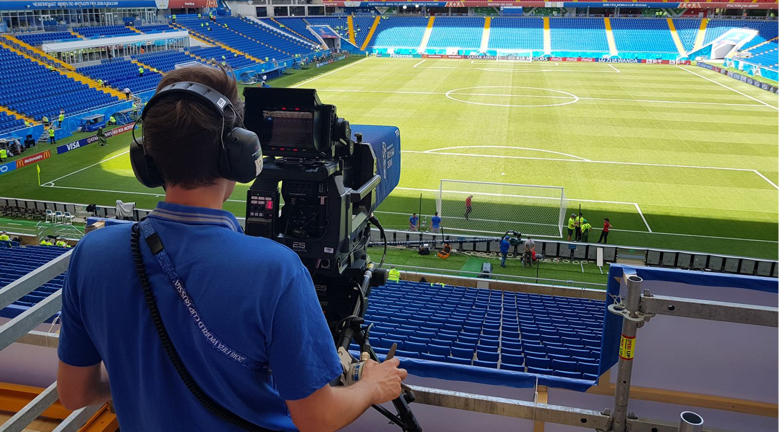 GTC member Stef de Backer working as a camera assistant on the FIFA World Cup in Russia