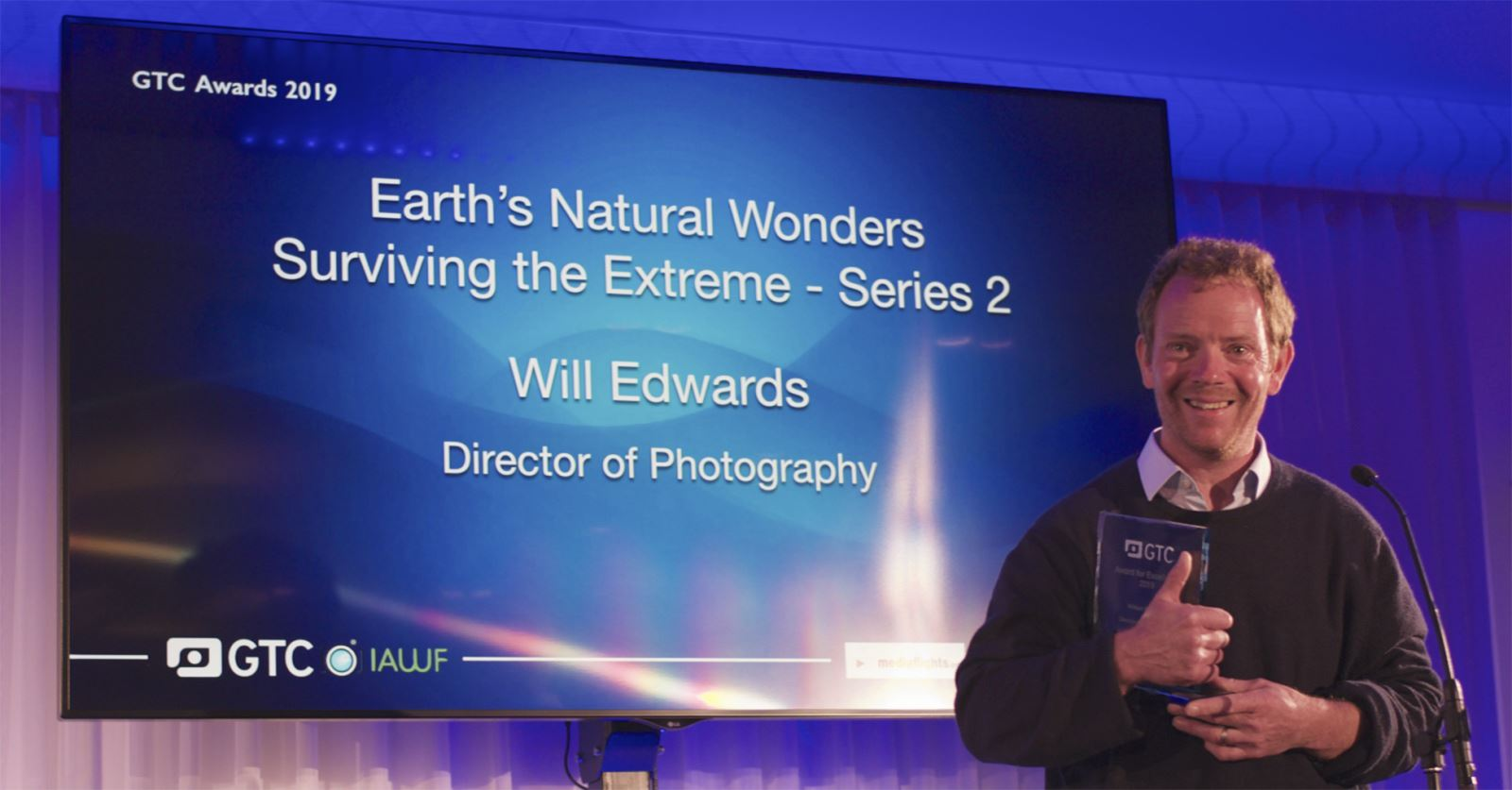 GTC member Will Edwards collected his second GTC Award for Excellence – this one for 'Earth's Natural Wonders'