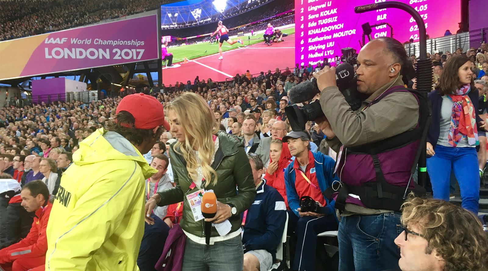 German crew for ZDF using Easyrig at the IAFF World Championships in the London Olympic Stadium
